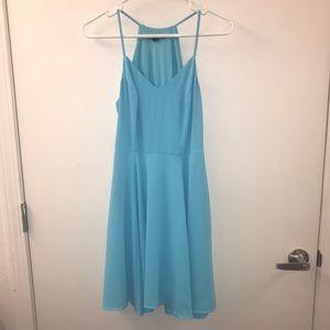 Sky Blue Chiffon Fit and Flare Dress